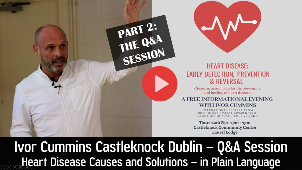Ivor Cummins Q and A following Heart Health Talk in Castleknock Dublin